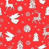 Christmas seamless pattern with holiday symbols royalty free illustration