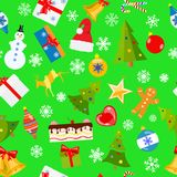 Seamless pattern of Christmas symbols. In flat style on green background Stock Images