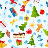 Seamless pattern of Christmas symbols. In flat style on white background Stock Photography