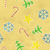 Seamless pattern christmas symbols on old paper Stock Image