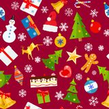 Seamless pattern of Christmas symbols. In flat style on red background Stock Photography