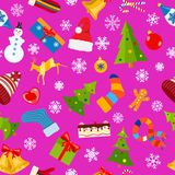 Seamless pattern of Christmas symbols. And warm winter clothes in flat style on purple background Royalty Free Stock Photography