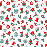 Seamless pattern with Christmas symbols. On white background Royalty Free Stock Images