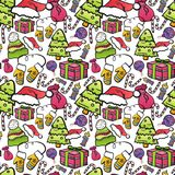 Seamless Pattern With Christmas Symbols On White Background Winter Holiday Ornament. Vector Illustration Royalty Free Stock Photography