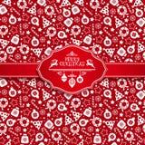 Seamless pattern of christmas texture. Seamless pattern of christmas texture icons on red background Stock Photos