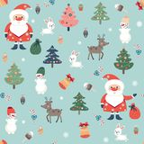 Seamless pattern on Christmas theme. With Santa Claus, deer, snowman and other holiday symbols. Vector illustration Royalty Free Stock Photos