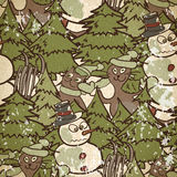 Seamless pattern on a Christmas theme with snowman and cats Stock Photo