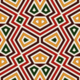 Seamless pattern in Christmas traditional colors. Bright ornamental abstract background. Ethnic and tribal motifs. Stock Photo