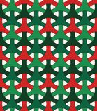 Seamless pattern in Christmas traditional colors with classic japanese ornament. Three pronged blocks tessellation. stock illustration