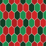 Seamless pattern in Christmas traditional colors with diamonds grid. Turtle shell motif. Honeycomb wallpaper. Repeated rhombuses and lozenges figures Royalty Free Stock Photography