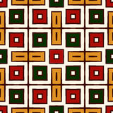 Seamless pattern in Christmas traditional colors. Repeated squares bright ornamental abstract geometric background. Stock Photo