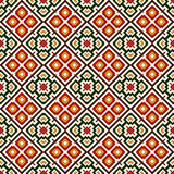Seamless pattern in Christmas traditional colors. Repeated squares and rhombuses bright ornamental abstract background. Royalty Free Stock Photo