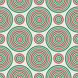 Seamless pattern in Christmas traditional colors with round vortexes. Repeated circles ornamental wallpaper. Abstract background with geometric figures Stock Illustration