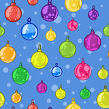 Seamless pattern of Christmas tree balls on blue background Stock Images