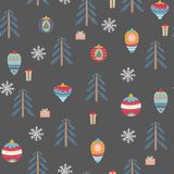 Seamless pattern with christmas symbols. Seamless pattern with christmas tree, balls and gifts on a dark gray background. Vector illustration Stock Image
