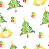Seamless pattern with Christmas tree and bells vector illustration. White background Royalty Free Stock Images