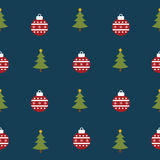 Seamless pattern with Christmas tree and Christmas ball with snowflake for winter holidays design. Vector Royalty Free Stock Photo