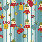 Seamless pattern with Christmas tree and gifts Royalty Free Stock Photos