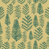 Seamless pattern christmas tree on gold background Stock Images
