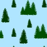Seamless pattern, christmas tree green, on a blue background fo. Rest, vector Stock Photos