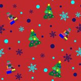 Seamless pattern with Christmas tree, presents and snowflakes. stock illustration