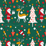 Seamless pattern with a Christmas tree Stock Photos