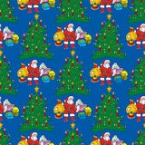 Seamless pattern with Christmas Tree and Santa. Seamless Pattern with Christmas Tree, Santa and Gifts  on a Blue Background Royalty Free Stock Photo