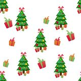 Seamless pattern of christmas tree. Vector illustration Royalty Free Stock Photos