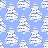 Seamless pattern of Christmas tree in snow. Seamless background pattern of pine tree in snow on blue background for Christmas  and New Year design Stock Photos