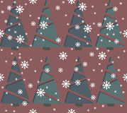 Seamless pattern with Christmas tree and snowflakes. Stylish template can be used for  the New Year and Christmas greeting cards, sign boards, paper and Royalty Free Stock Photo