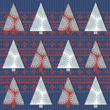 Seamless pattern with Christmas tree and stylish ornament Royalty Free Stock Photography