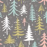 Seamless pattern with Christmas tree. Stylized winter forest. Vector background. Seamless pattern with Christmas tree and snowflakes. Stylized winter forest Stock Image