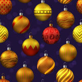 Seamless pattern with christmas tree toys. Vector illustration Royalty Free Stock Photos