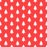 Seamless pattern with Christmas tree. Xmas texture for wallpaper or wrapping paper. Vector red background Royalty Free Stock Photography