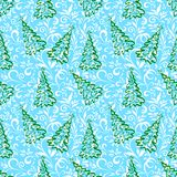 Seamless pattern with Christmas trees. Seamless background for holiday design, green outline Christmas trees with stars and blue and white floral pattern. Vector Royalty Free Stock Images