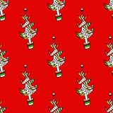 Seamless pattern with  Christmas trees on a. Backround. Vector Stock Photography