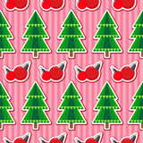 Seamless pattern with christmas trees and balls. Seamless christmas pattern. Holiday background for Christmas and New Year. Winter wallpaper. Vector illustration Stock Image