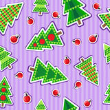 Seamless pattern with christmas trees and balls. Seamless christmas pattern. Holiday background for Christmas and New Year. Winter wallpaper. Vector illustration Stock Photos
