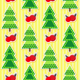 Seamless pattern with christmas trees and balls. Seamless christmas pattern. Holiday background for Christmas and New Year. Winter wallpaper. Vector illustration Royalty Free Stock Photography