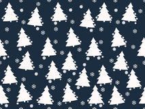 Seamless pattern. Christmas trees, Christmas toys and snowflakes. Vector illustration Royalty Free Stock Image