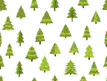 Seamless pattern with Christmas trees in a flat style. Decorated Christmas tree. Vector Stock Photography