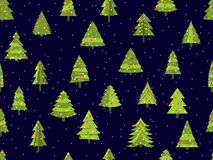 Seamless pattern with Christmas trees in a flat style. Decorated Christmas tree. Vector Stock Image