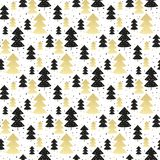 Seamless pattern with christmas trees. Seamless pattern with gold and black christmas trees Stock Image