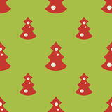 Seamless pattern with christmas trees green backgrond. Vector seamless pattern with christmas red trees green backgrond Royalty Free Stock Photos