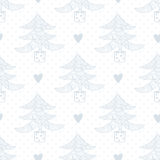 Seamless pattern with christmas trees and hearts Royalty Free Stock Images