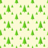 Seamless pattern of Christmas trees, isolate at yellow Royalty Free Stock Images