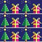 Seamless pattern with Christmas trees,with  light blue and d star in two shades on dark blue background  with snow element Stock Photography