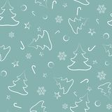 Seamless pattern from Christmas trees, New Year`s balls, stars, candies, snowflakes stock illustration
