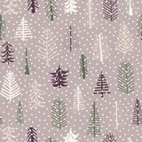 Seamless pattern Christmas trees pattern repeat tile. Purple, gr. Een, brown, white doodle trees and snowflakes. Scandinavian Christmas background. Fabric, paper vector illustration