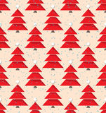 Seamless Pattern with Christmas Trees. Seamless Christmas Pattern with red Evergreen Trees Stock Photo